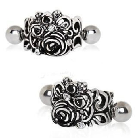 316L Stainless Steel Black Roses Cartilage Cuff Earring - Fashion Hut Jewelry
