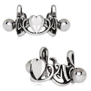 316L Stainless Steel LOVE Script with Heart Cartilage Ear Cuff - Fashion Hut Jewelry