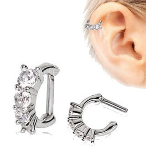 316L Stainless Steel Cascading CZ Cartilage Clicker Earring - Fashion Hut Jewelry