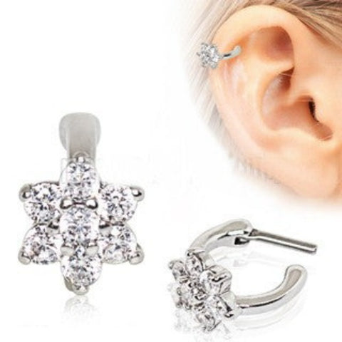 316L Stainless Steel CZ Flower Cartilage Clicker Earring - Fashion Hut Jewelry