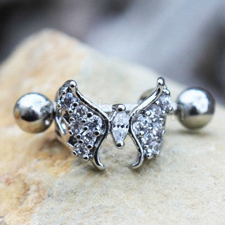 316L Stainless Steel Fancy Jeweled Butterfly Cartilage Cuff Earring - Fashion Hut Jewelry