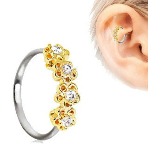 316L Stainless Steel Golden Flowers Seamless Circular Ring / Daith Cartilage Earring - Fashion Hut Jewelry