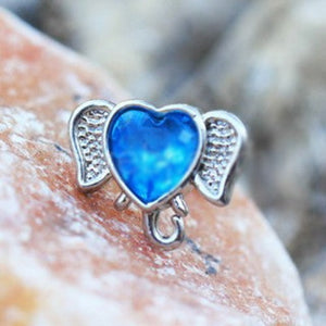 316L Stainless Steel Aqua Heart Elephant Cartilage Earring - Fashion Hut Jewelry
