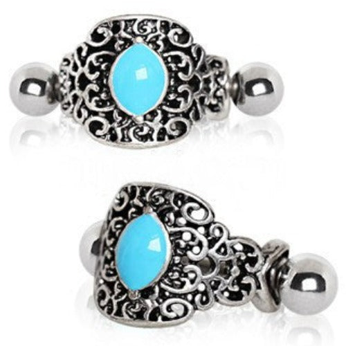 316L Stainless Steel Aqua Ornate Cartilage Cuff Earring - Fashion Hut Jewelry