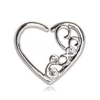 Jeweled Ornate Heart Annealed Cartilage Earring - Fashion Hut Jewelry