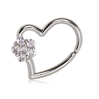 316L Stainless Steel Heart Cartilage Earring with Flower - Fashion Hut Jewelry