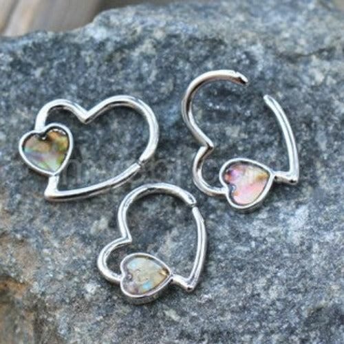 316L Stainless Steel Abalone Shell Heart Annealed Cartilage Earring - Fashion Hut Jewelry