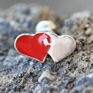 316L Stainless Steel Interlocked Hearts Cartilage Earring - Fashion Hut Jewelry