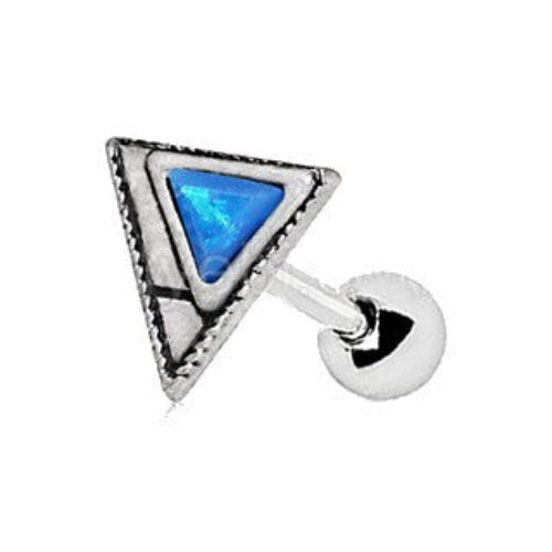 316L Stainless Steel Blue Synthetic Opal Triangle Cartilage Earring - Fashion Hut Jewelry