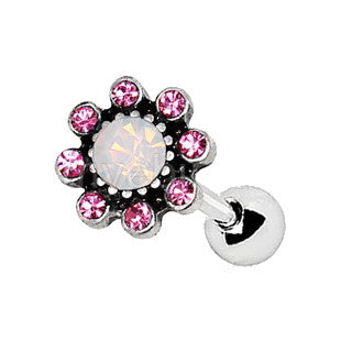 Pink Flower Cartilage Tragus Earring