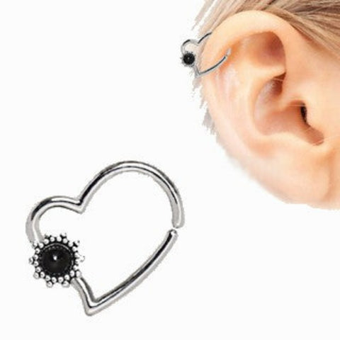 316L Stainless Steel Black Flower Heart Annealed Cartilage Earring - Fashion Hut Jewelry