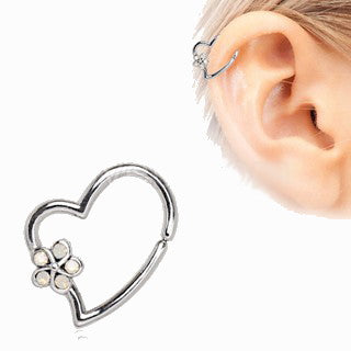316L Stainless Steel Synthetic Opal Flower Heart Annealed Cartilage Earring - Fashion Hut Jewelry