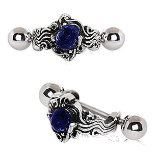 316L Stainless Steel Sapphire Blue Wave Cartilage Cuff Earring - Fashion Hut Jewelry