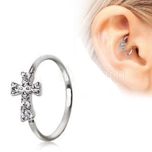 316L Stainless Steel Jeweled Cross Cartilage Earring / Nose Hoop Ring - Fashion Hut Jewelry