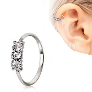 316L Stainless Steel Synthetic Triple CZ Cartilage Earring / Nose Hoop Ring - Fashion Hut Jewelry