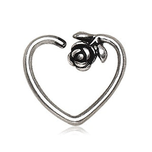 316L Stainless Steel Rose Heart Cartilage Earring - Fashion Hut Jewelry