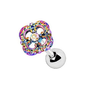 316L Stainless Steel Rainbow PVD Plated Flower Cartilage Earring - Fashion Hut Jewelry