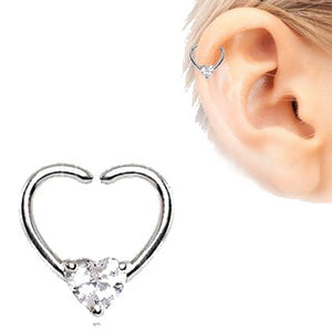 316L Stainless Steel Jeweled Heart Shaped Seamless Ring - Fashion Hut Jewelry