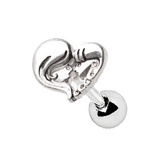 316L Stainless Steel Mother Daughter Heart Cartilage Earring - Fashion Hut Jewelry