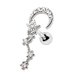 316L Stainless Steel Moon and Star Sign Cartilage Earring - Fashion Hut Jewelry