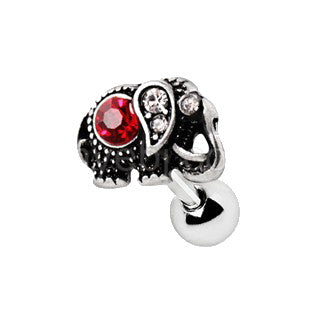 316L Stainless Steel Ruby Red Jeweled Elephant Cartilage Earring - Fashion Hut Jewelry