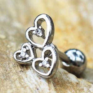 316L Stainless Steel Triple Lovely Heart Cartilage Earring - Fashion Hut Jewelry