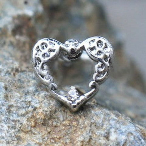 316L Stainless Steel Decorated Heart Cartilage Earring - Fashion Hut Jewelry