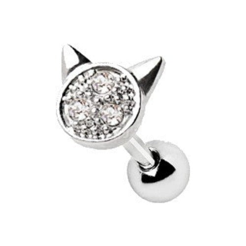 316L Stainless Steel Adorned Cat Cartilage Earring - Fashion Hut Jewelry