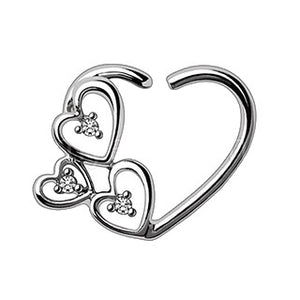 316L Stainless Steel Love in the Air Heart Cartilage Earring - Fashion Hut Jewelry