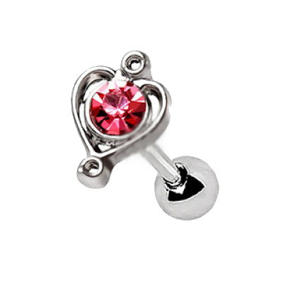 316L Stainless Steel Lovely Pink Heart Cartilage Earring - Fashion Hut Jewelry