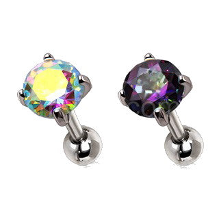 316L Stainless Steel Prong Set Iridescent Cubic Cartilage Earring - Fashion Hut Jewelry