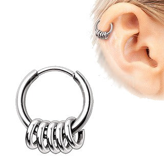 316L Stainless Steel Multi Ring Circular Clicker Ring - Fashion Hut Jewelry