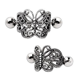 316L Stainless Steel Ornate Butterfly Cartilage Cuff Earring - Fashion Hut Jewelry