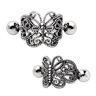 316L Stainless Steel Ornate Butterfly Cartilage Cuff Earring