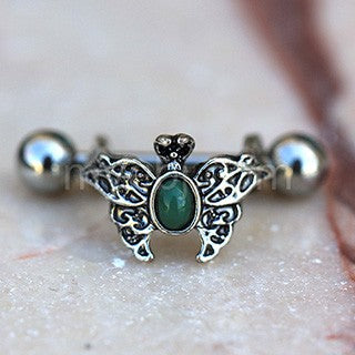 316L Stainless Steel Ornate Green Butterfly Cartilage Cuff Earring - Fashion Hut Jewelry
