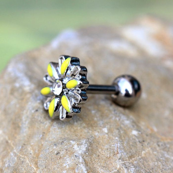 316L Stainless Steel Yellow Daisy Cartilage Earring - Fashion Hut Jewelry