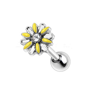 316L Stainless Steel Yellow Daisy Cartilage Earring