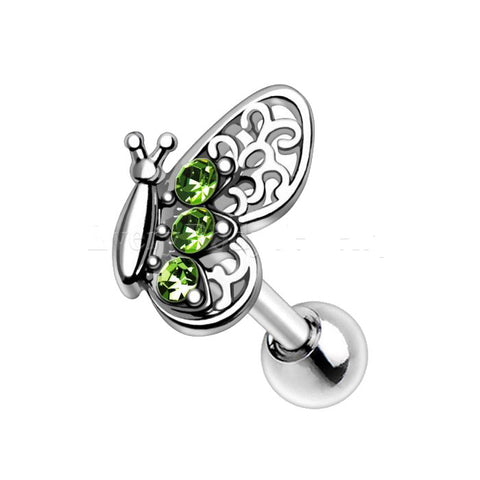 316L Stainless Steel Green Butterfly Cartilage Earring - Fashion Hut Jewelry