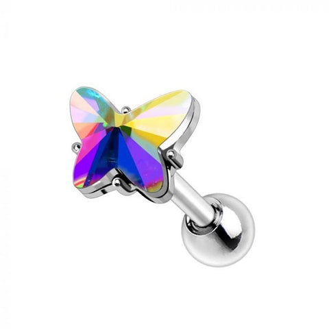 316L Stainless Steel Aurora Borealis Butterfly Cartilage Earring - Fashion Hut Jewelry
