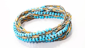 Alpaca Blend, Sky Blue with Neutrals, Woven Wraps - Fashion Hut Jewelry