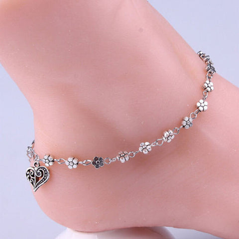 Daisy Flower Anklet Hanging Heart Charm - Fashion Hut Jewelry
