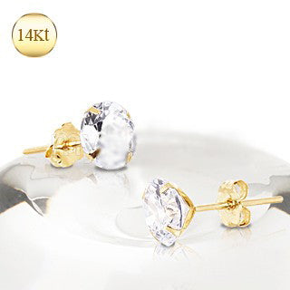 Pair of 14Kt Yellow Gold Clear Round CZ Stud Earrings - Fashion Hut Jewelry