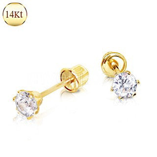 Pair of 14Kt. Yellow Gold Clear Round CZ Earring with Screw Back - Fashion Hut Jewelry