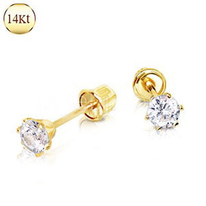 Pair of 14Kt. Yellow Gold Clear Round CZ Earring with Screw Back