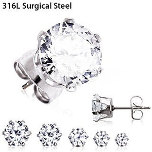 Pair of 316L Surgical Steel Clear Round CZ Stud Earrings - Fashion Hut Jewelry
