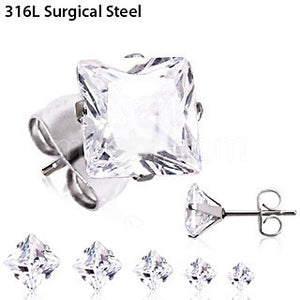 Pair of 316L Surgical Steel Clear Princess Cut CZ Stud Earrings - Fashion Hut Jewelry