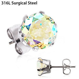 Pair of 316L Stainless Steel Aurora Borealis Round CZ Stud Earrings - Fashion Hut Jewelry