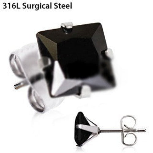 Pair of 316L Stainless Steel Black Princess Cut CZ Stud Earrings - Fashion Hut Jewelry