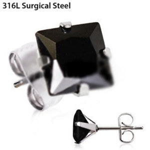 Pair of 316L Stainless Steel Black Princess Cut CZ Stud Earrings