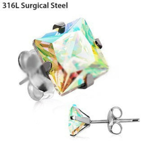 Pair of 316L Stainless Steel Aurora Borealis Princess Cut CZ Stud Earrings - Fashion Hut Jewelry